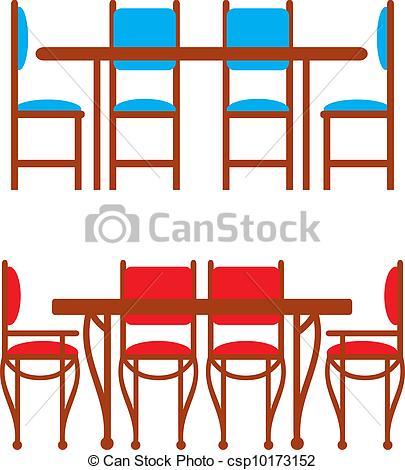 Clipart Vector of Set of dining tables and chairs.