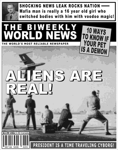 Tabloid cover about aliens.