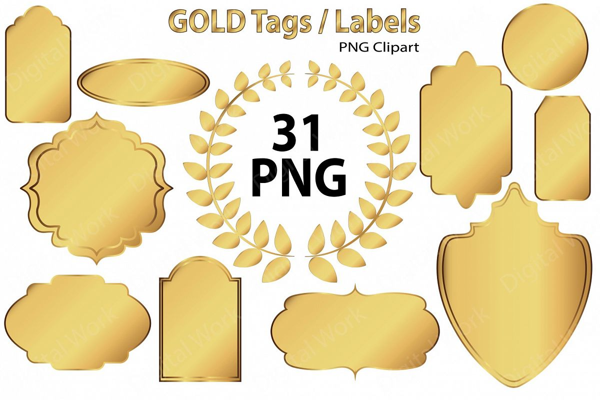 Gold Clip Art Tags and Labels.
