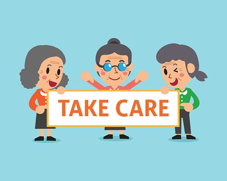 Cartoon senior women holding take care sign Clipart Image.
