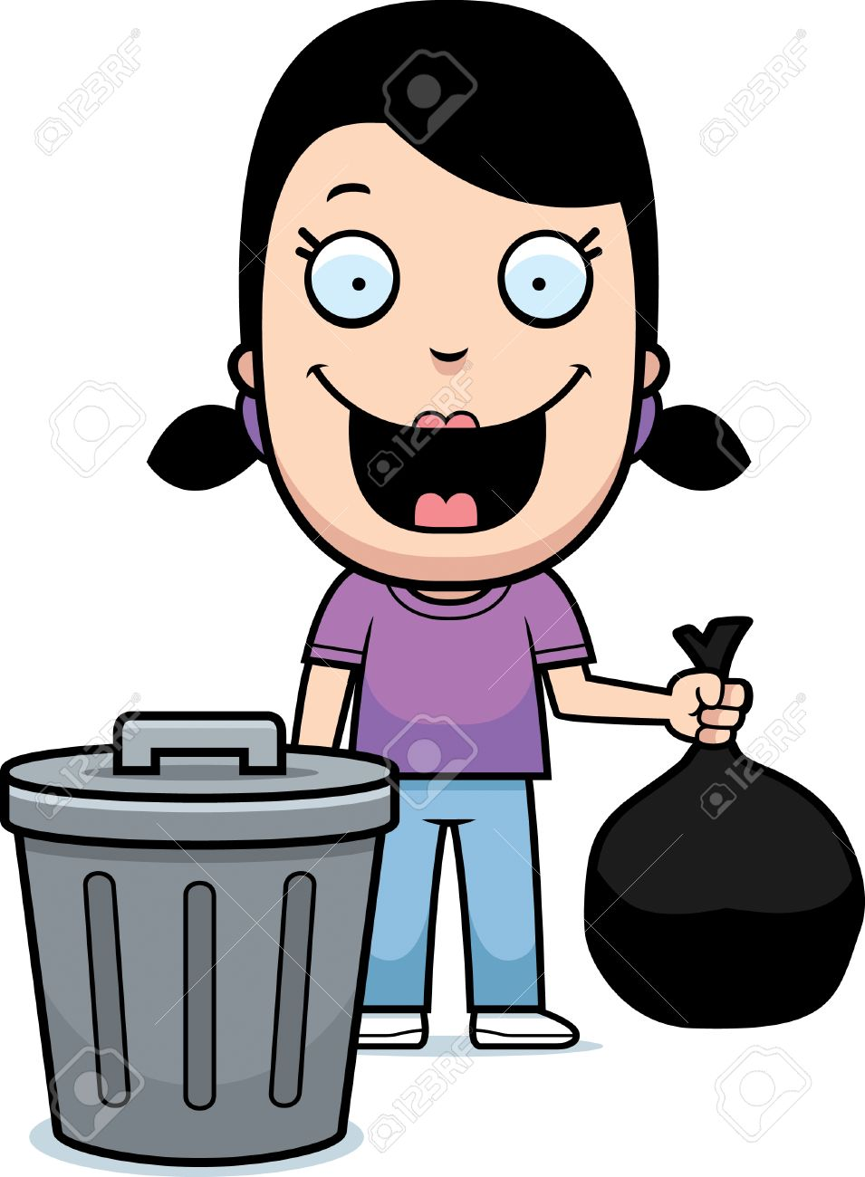 Girl Taking Out The Trash Clipart.