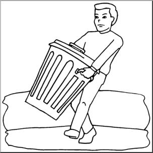 Clip Art: Kids: Chores: Taking Out the Trash B&W I abcteach.
