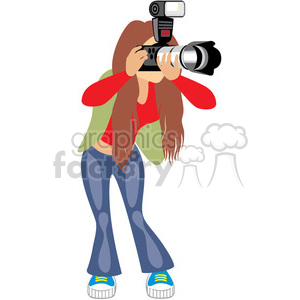 girl taking photos clipart. Royalty.