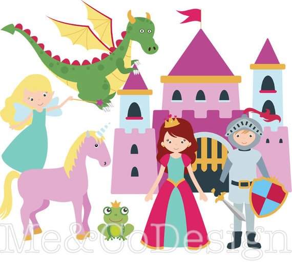 Fairy tale Clipart, Fun Cute Clipart, knight and Princess.