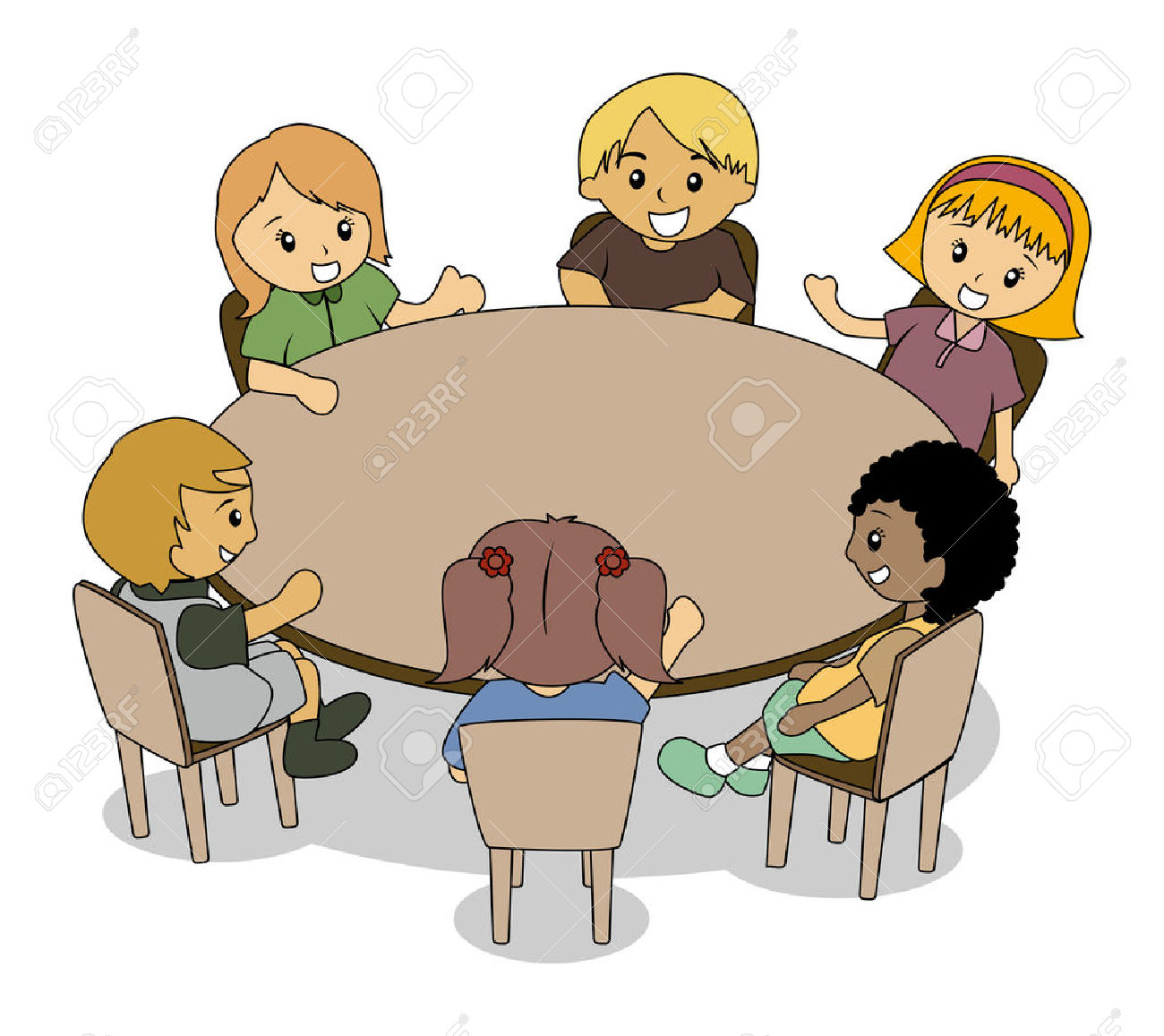 Clipart Kids At Table.