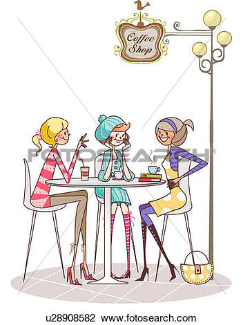 Clip Art of Three women sitting around a table and talking to each.