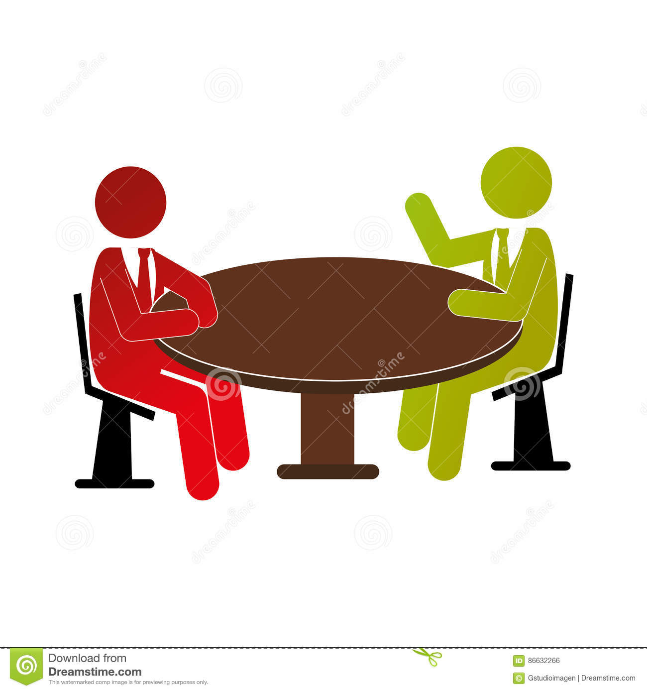 People Talking In Table Icon Stock Vector.