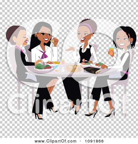 Clipart Christian Women Talking And Eating Lunch With A Bible On.