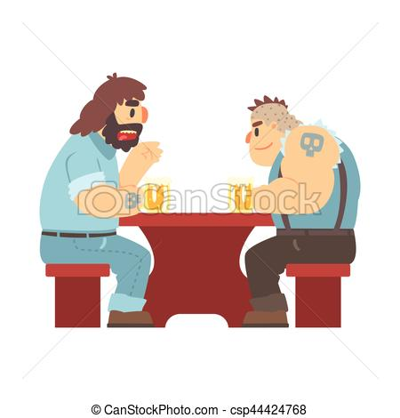 Clip Art Vector of Two Gang Members With Tattooes Talking At The.