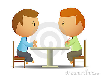 Clipart Talking At Table.