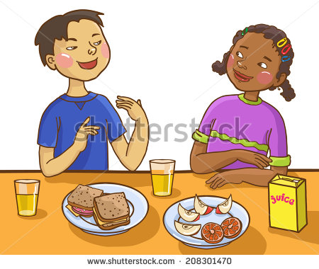 Kids Talking At Table Clipart.