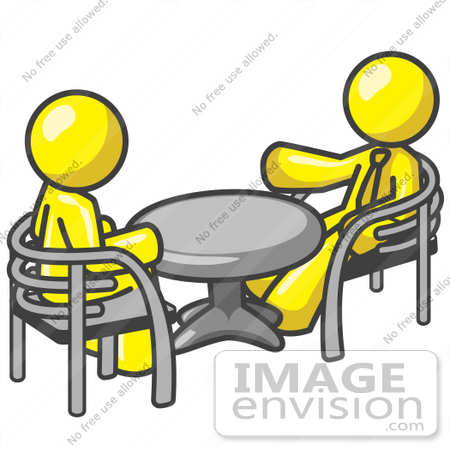 Clip Art Graphic of Yellow Guy Characters Talking at a Table.
