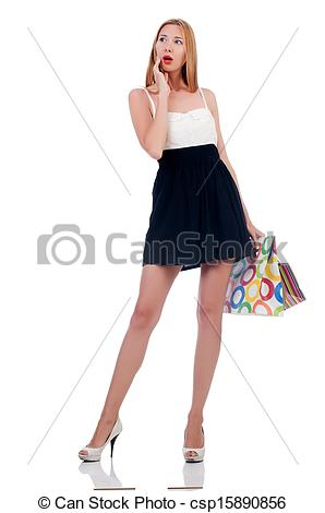Stock Images of Tall girl after good shopping on white csp15890856.