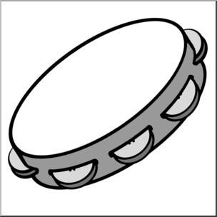 Clip Art: Tambourine Grayscale I abcteach.com.