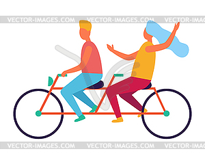 Couple Riding on Tandem or Twin Bicycle.