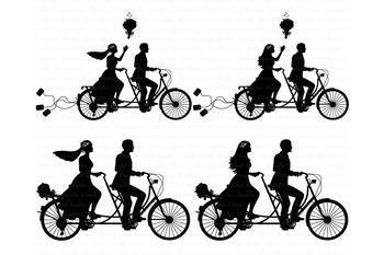 Wedding Tandem Bike Bride and Groom SVG, Tandem Bike Bride and Groom  Clipart..