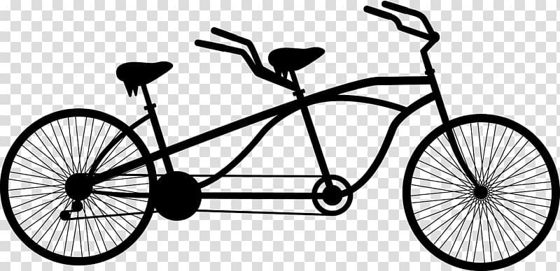 Black tandem bike stencil, Tandem bicycle Cycling , Black.