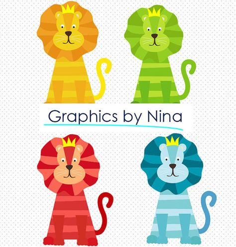 INSTANT DOWNLOAD Colorful Lion Clipart Scrapbook for.