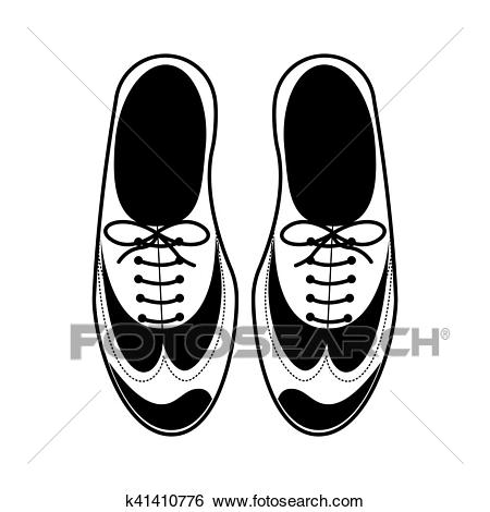 Silhouette tap shoes for mens with laces Clip Art.