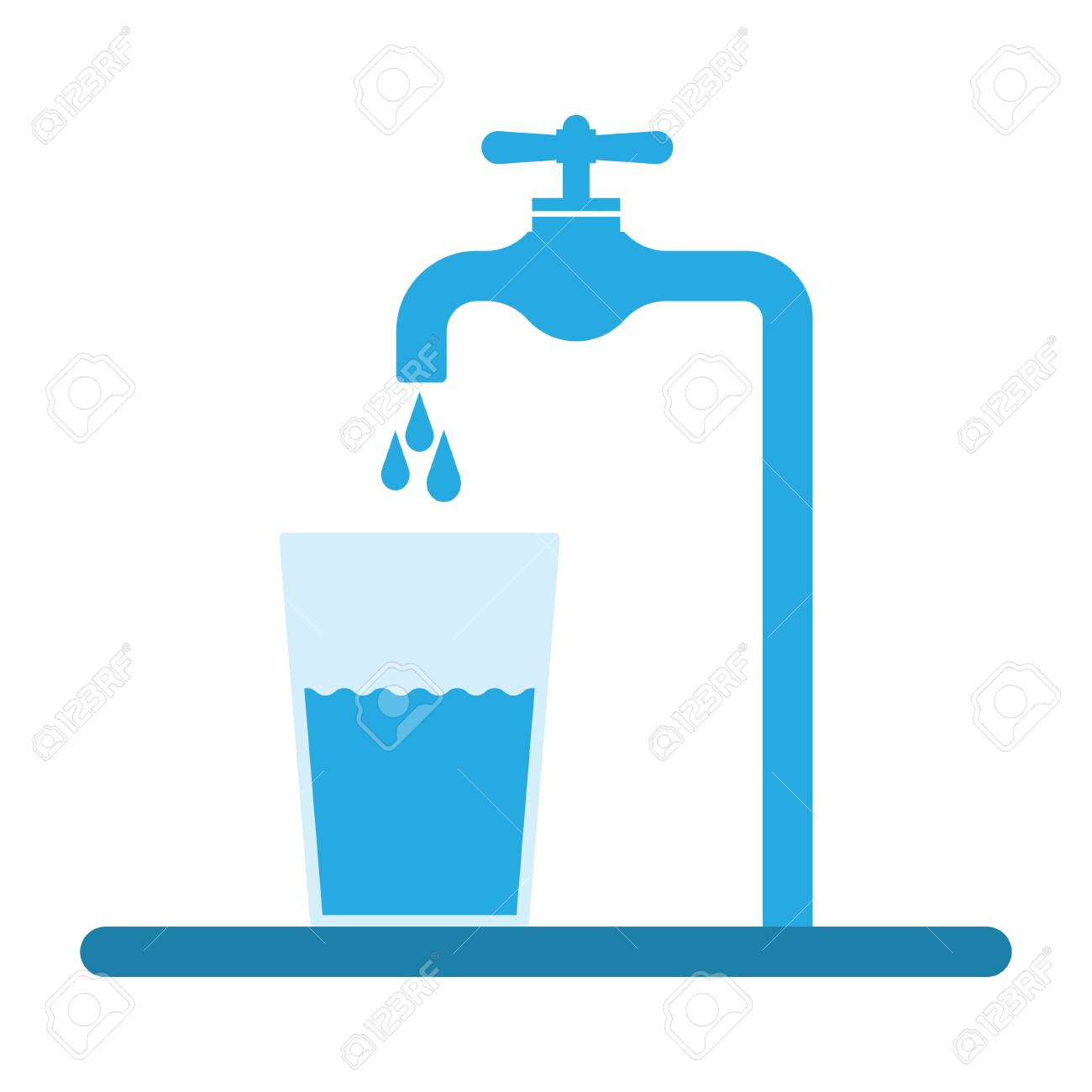 Tap water flows into the glass. Pure water vector illustration..