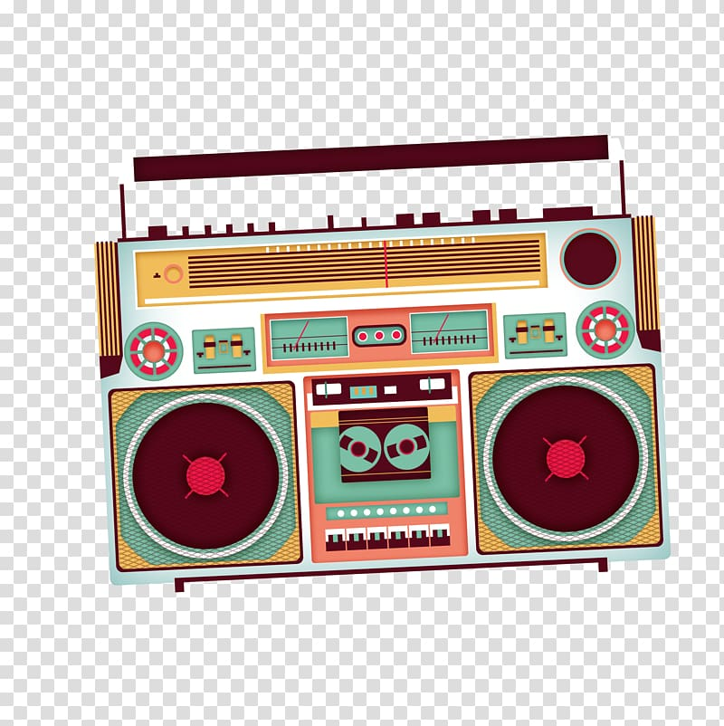 Brown and blue radio , Poster Tape recorder, radio.