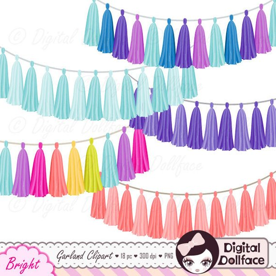Rainbow Tassel Garland Clipart Bundle, Digital Clip Art.
