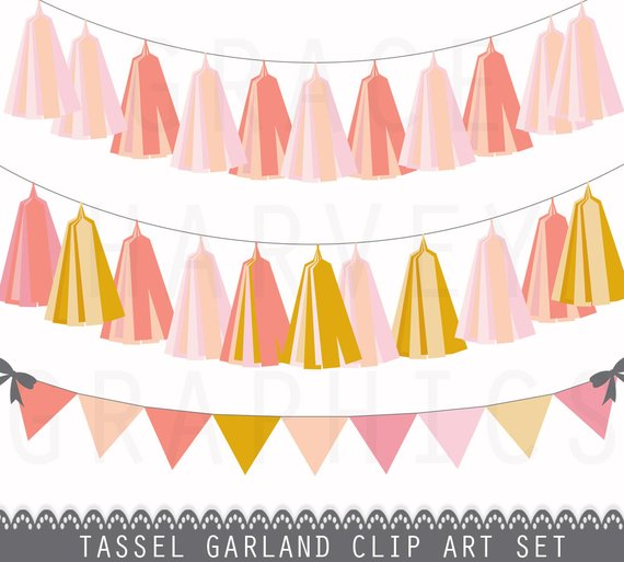 Tassel Garland and Bunting Banner Clip Art, INSTANT download.