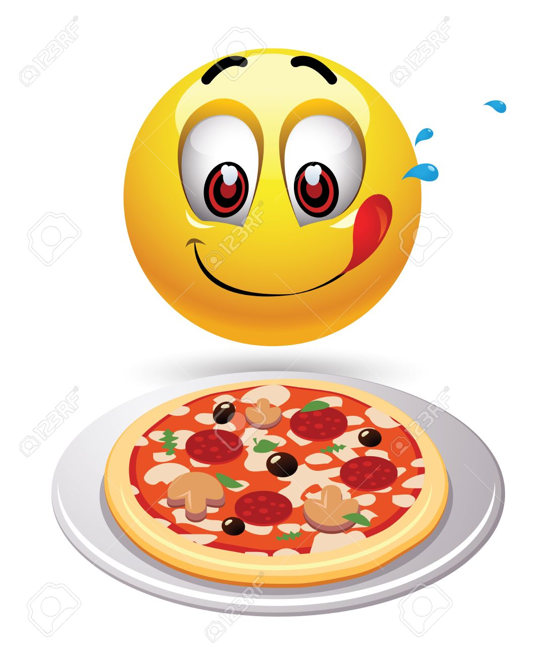 Hungry smiley looking at tasty pizza. » Clipart Station.