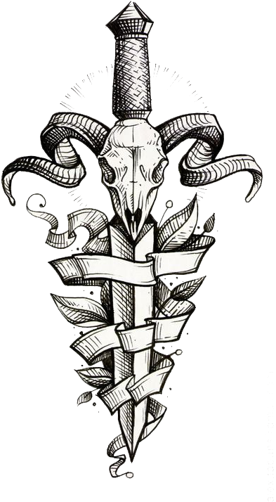 Decorative Tattoo Dagger Sleeve Painted Flash Hand Clipart.