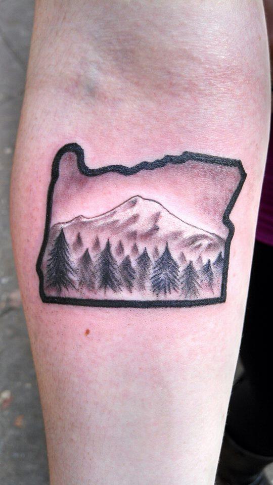 My Oregon tattoo with Mt. Hood #oregontattoo #portlandoregon I.