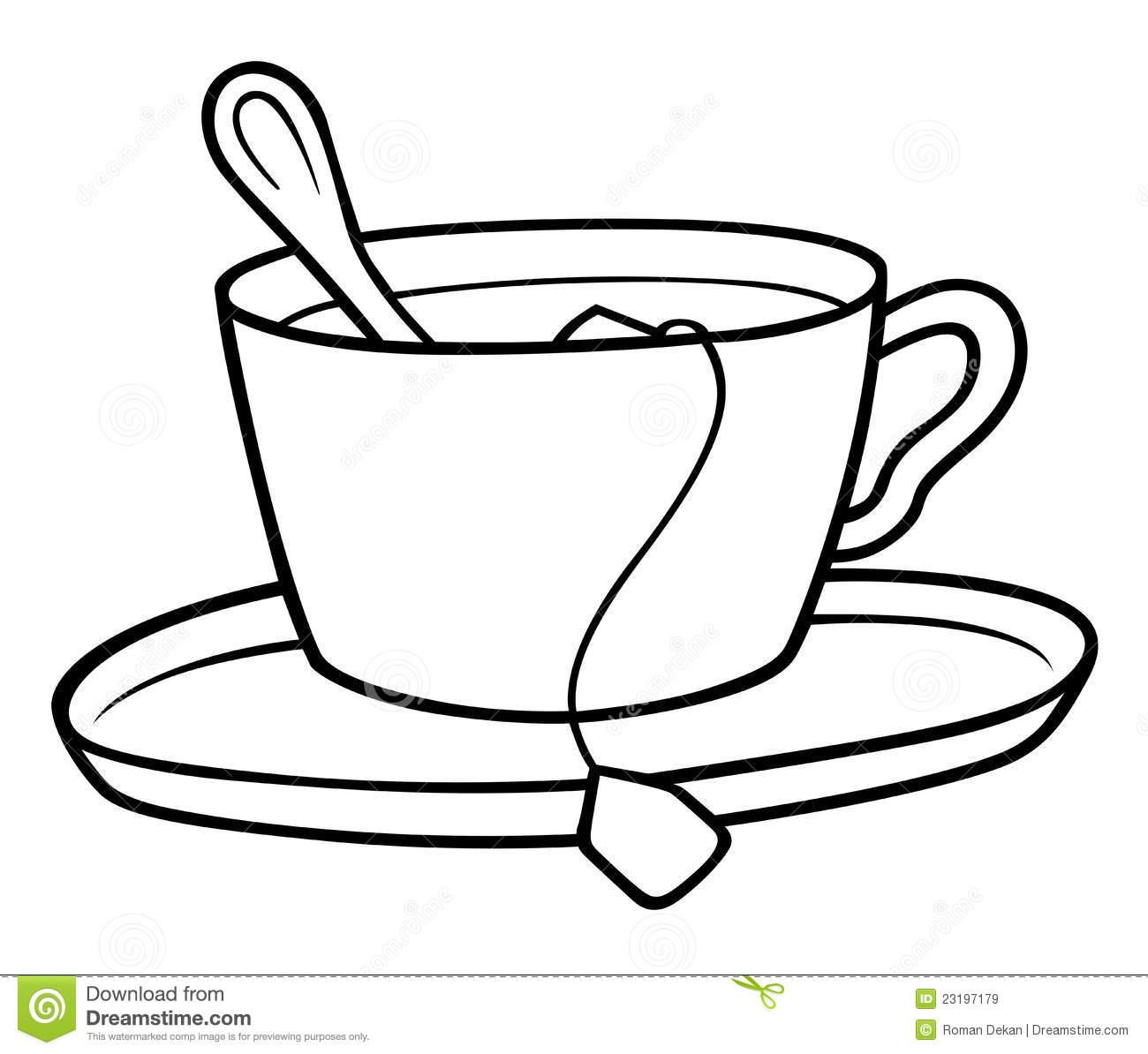 Tea Cup stock vector. Illustration of clipart, clip, black.