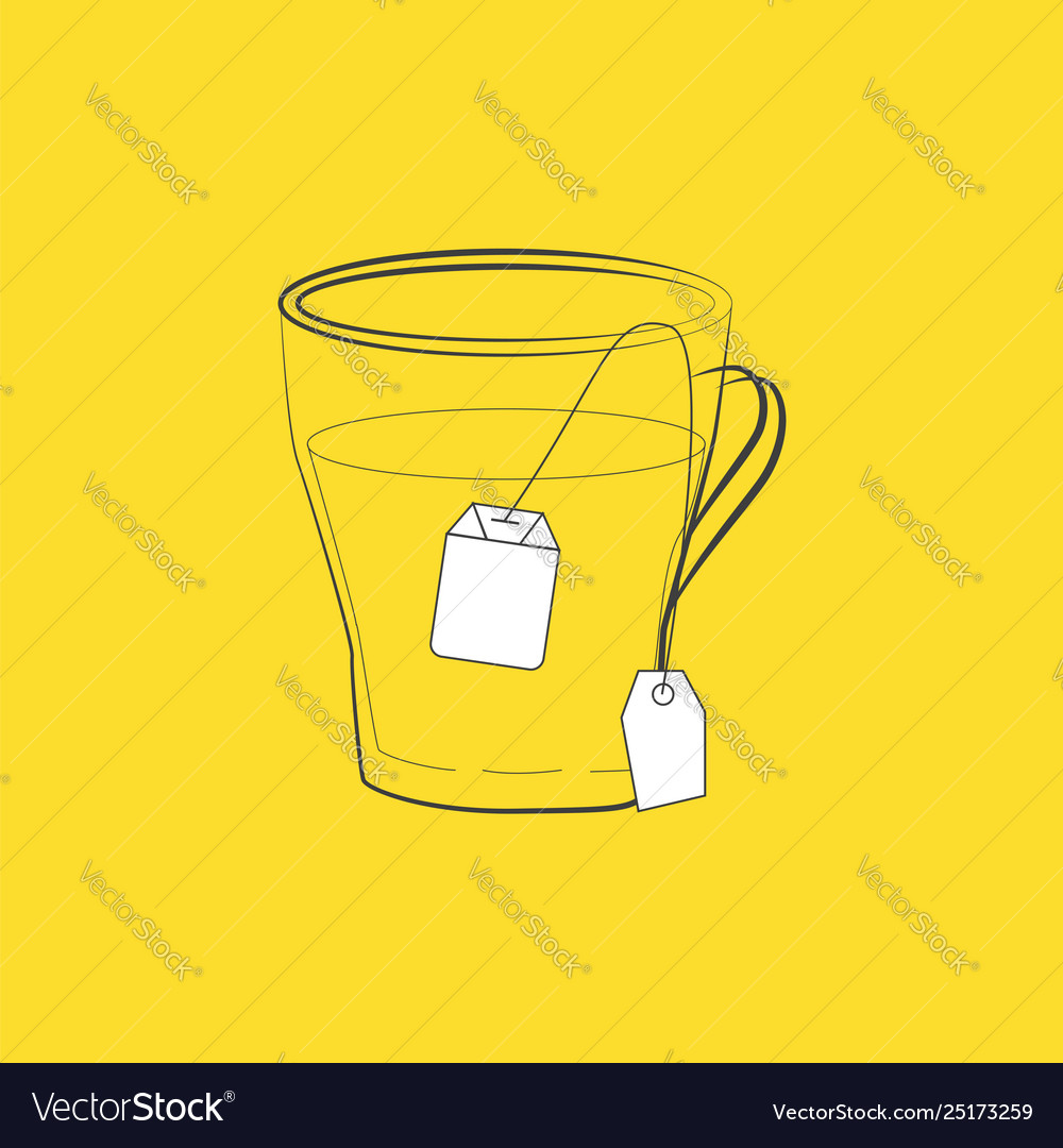Clipart a dip tea bag in a cup set isolated on.