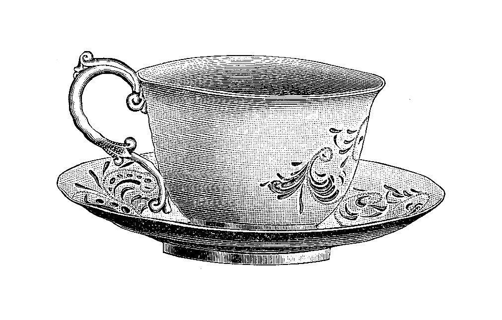 victorian tea cup & saucer clip art.