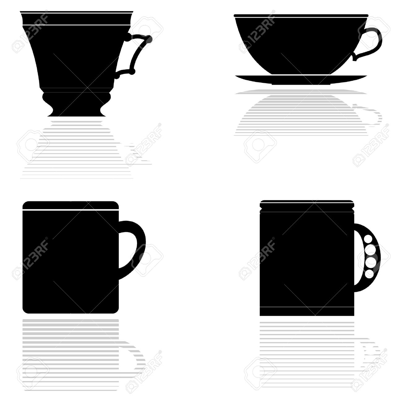 Set Of Vector Silhouettes Of Tea Cups Royalty Free Cliparts.