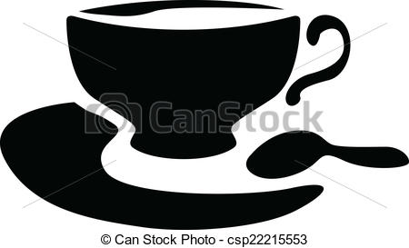 Clipart Vector of Silhouette of a teacup and teaspoon.