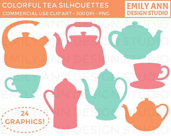 Teapot Teacup Silhouette Colorful Cute Clip Art.