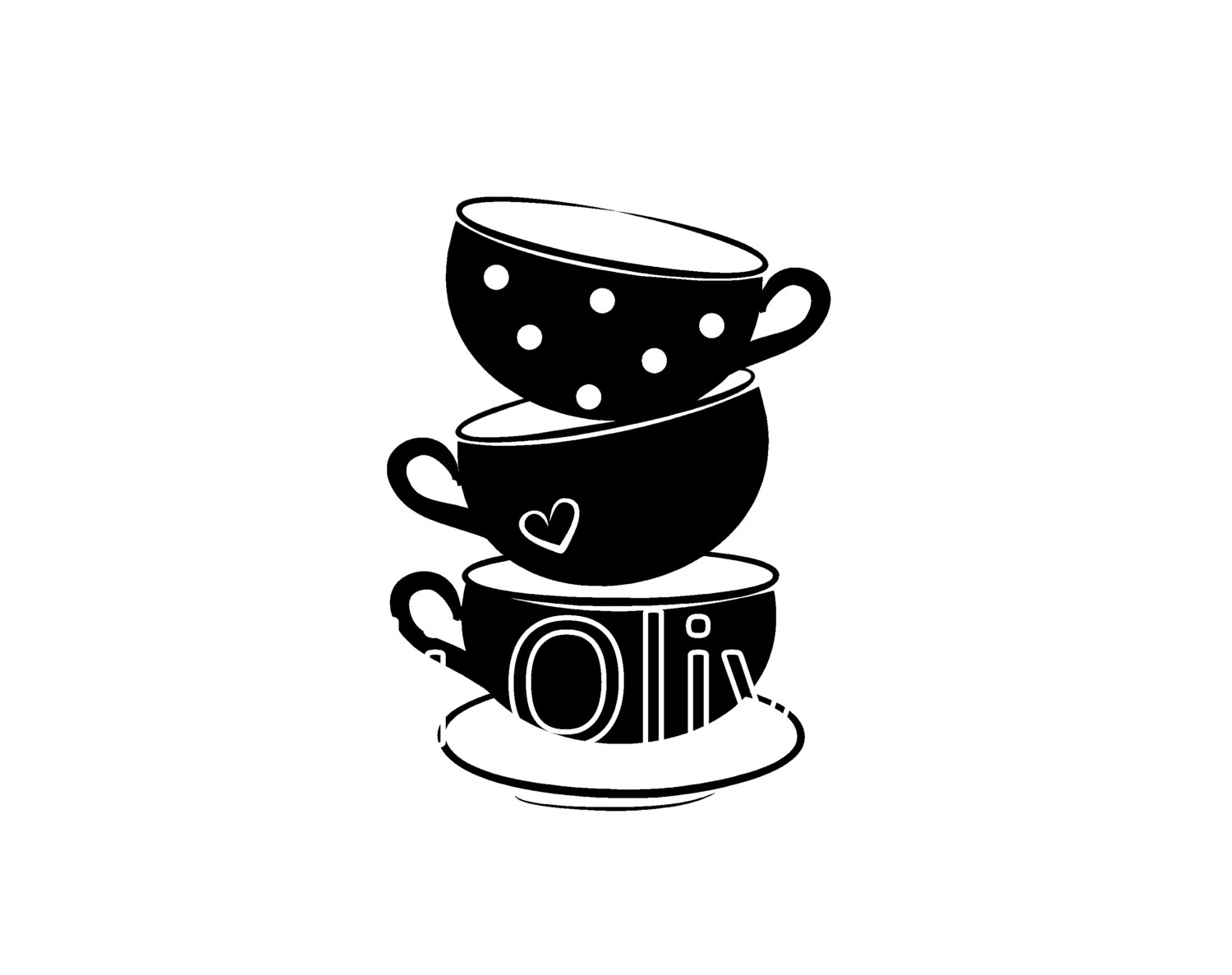 Teacups SVG,black teacups vector Cutting file, tea party clip art.