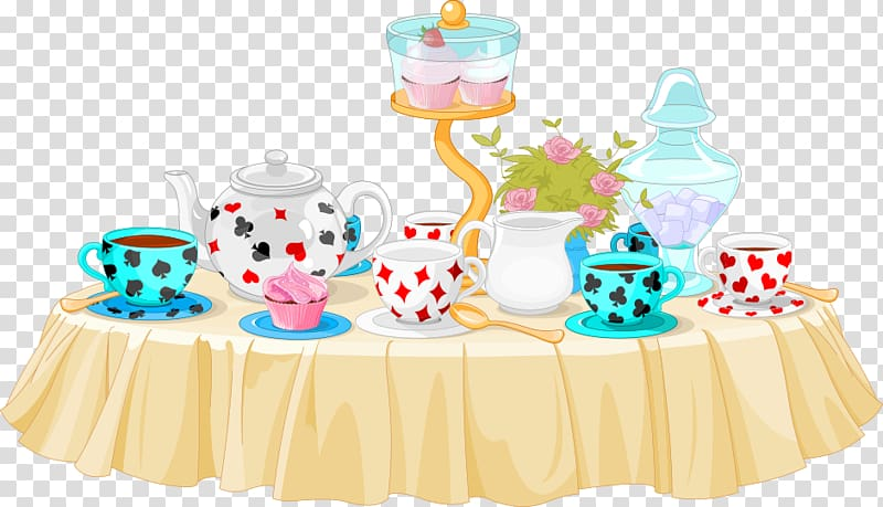 Illustration of tea set, Tea party Cupcake , table material.