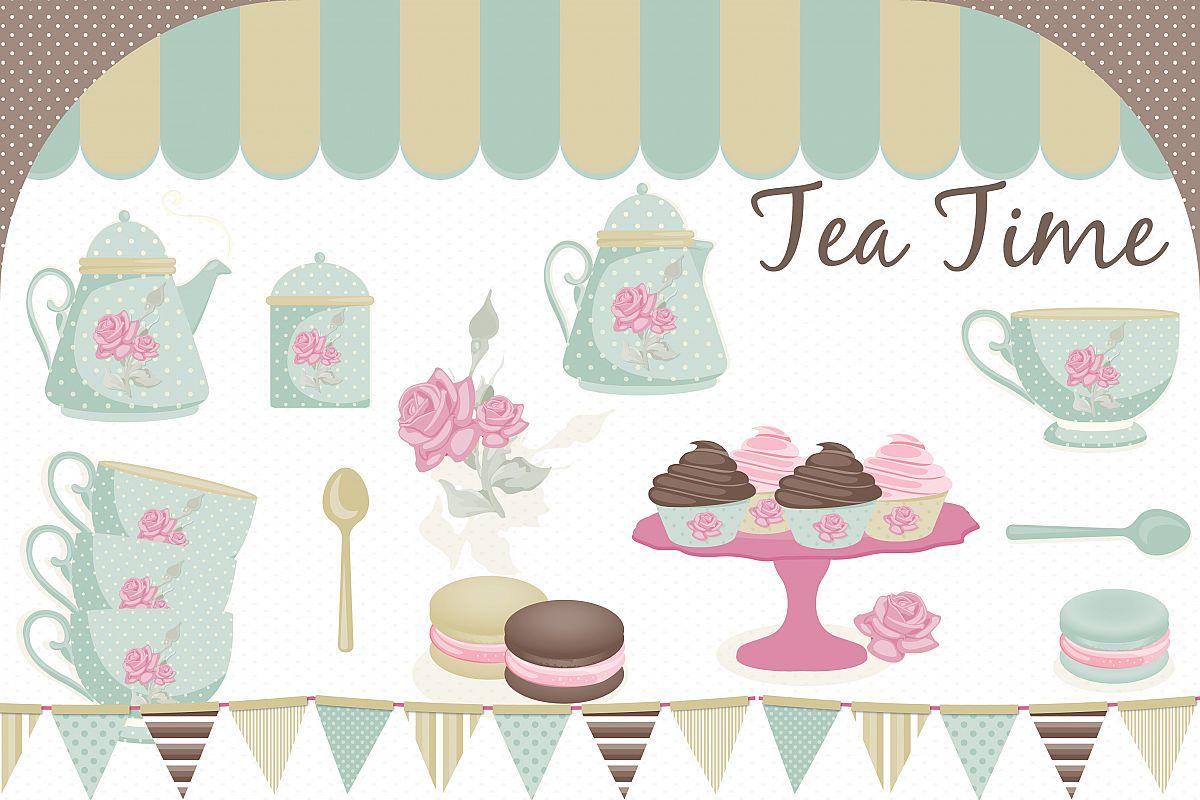 Tea party clipart, Tea party graphics.