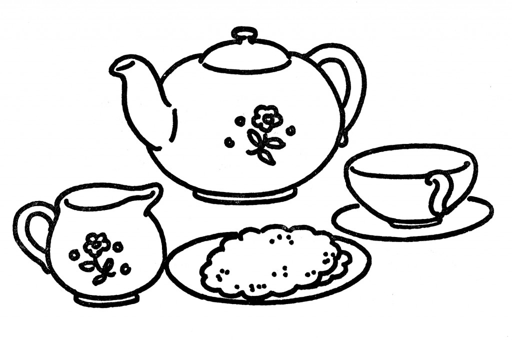 Rose Tea Set With Clipart.