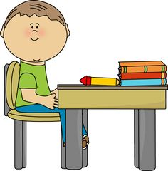 Boy Student at Teacher's Desk.