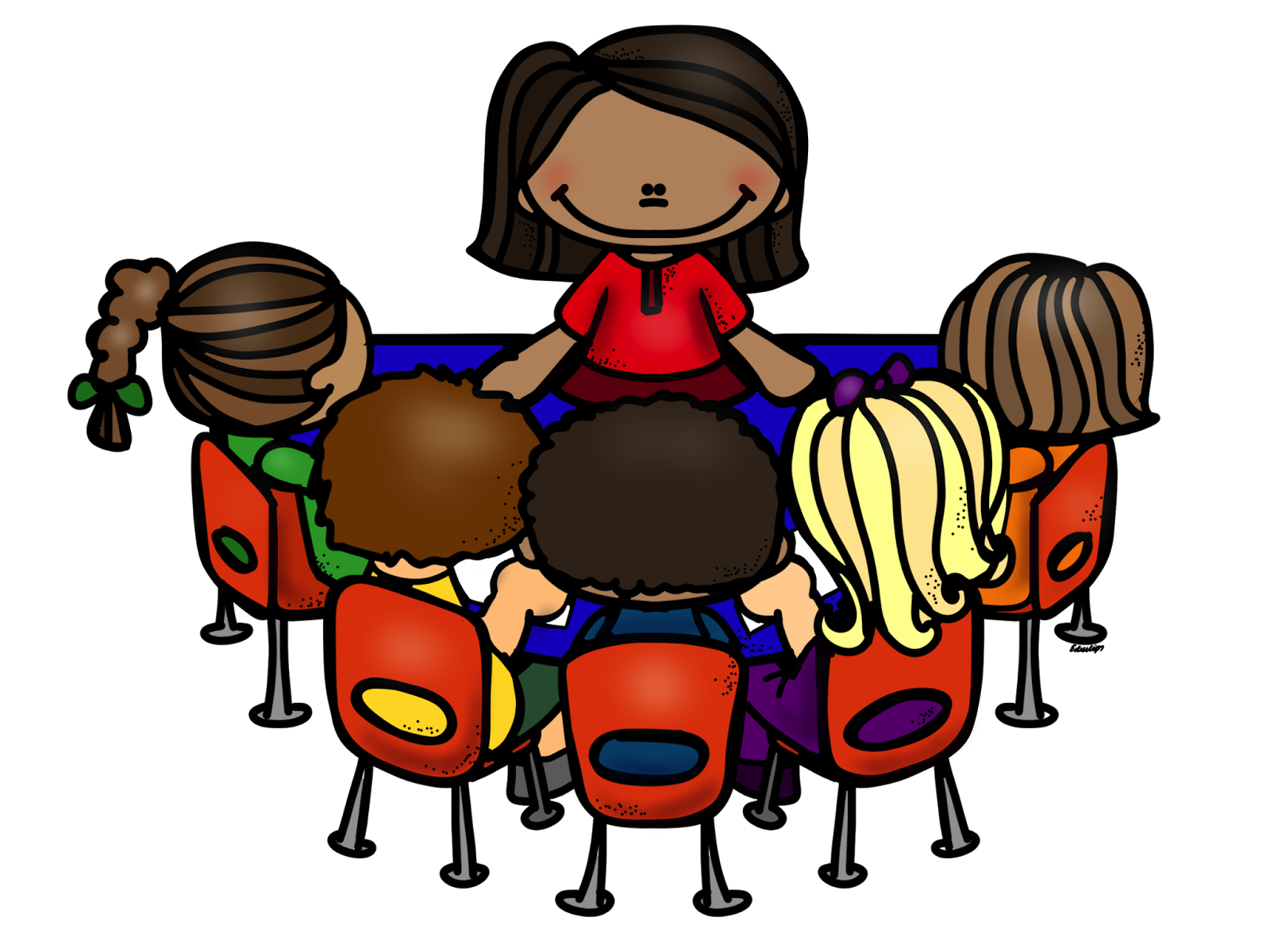 Teacher Reading Table Clipart.