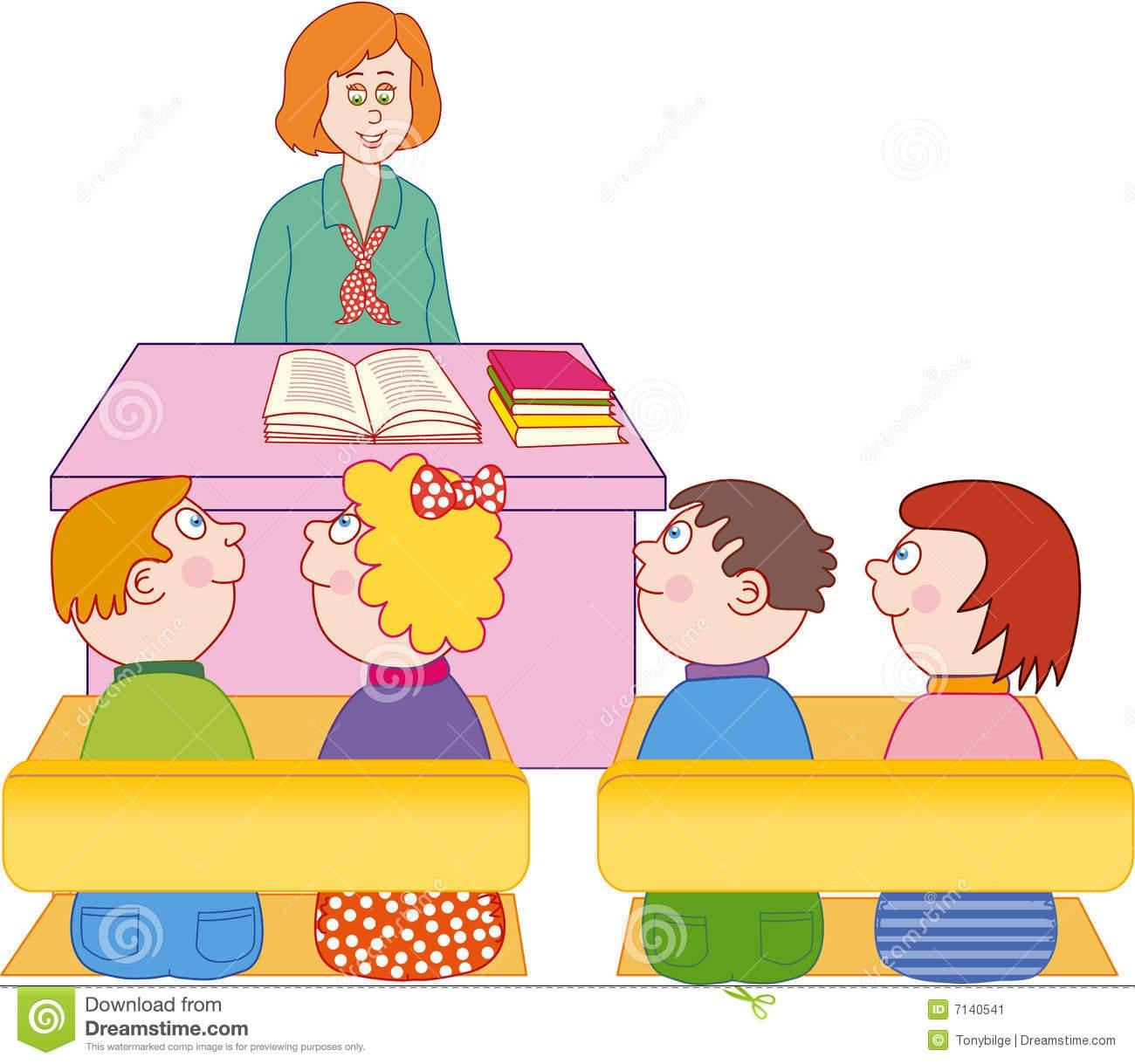 Teacher Teaching Students In Class Clipart.