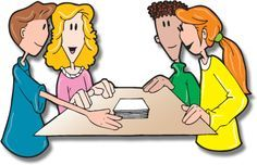 group of students working together clipart.