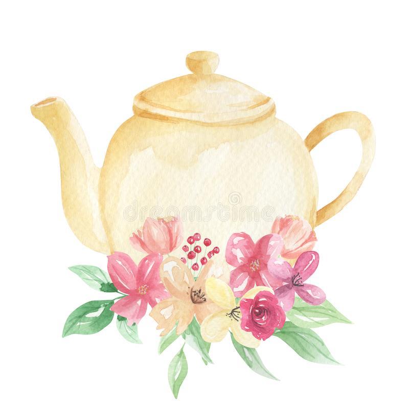 Flower clip art in teapot.