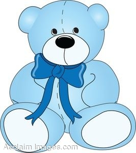 Clip Art of a Childs Teddy Bear Wearing a Bow.
