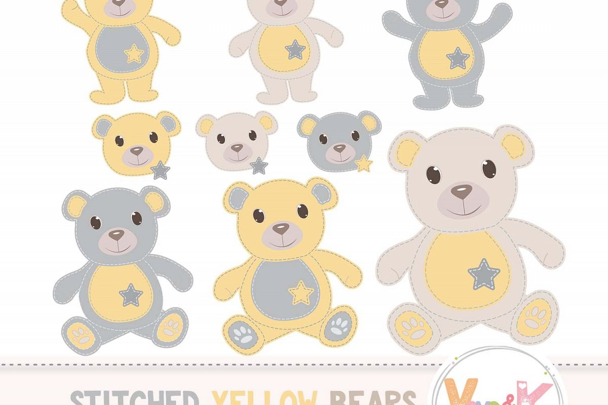 Yellow Teddy Bear Clip Art, Stitched Teddy Bear, Yellow Teddy Bears,  Neutral Baby Clipart, Baby Shower, Baby Yellow and Grey.