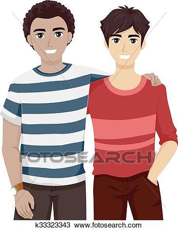 Teen Guys Bestfriends Hanging Out Clipart.