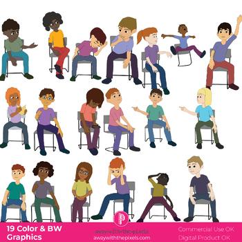 Tweens / Teenage Sitting Clipart.
