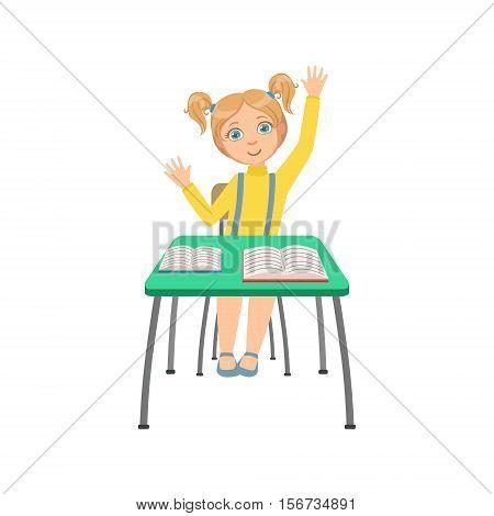 Schoolgirl Sitting Behind The Desk In School Class Raising Hand.